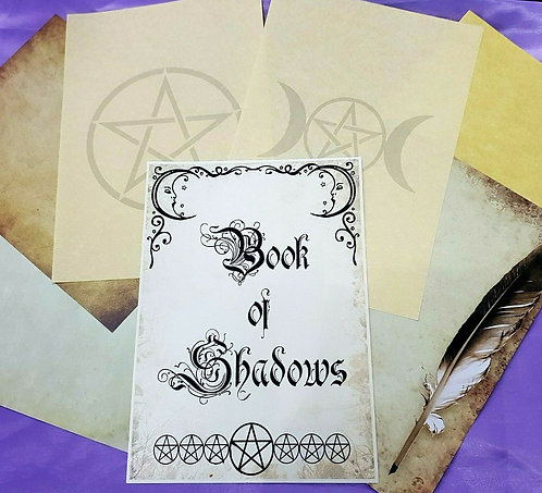 Book of Shadows Witches Spells Parchment Paper Bundle 6 A4 + BOS Cover