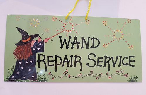 Door Hanging Sign 'Wand Repair Service'
