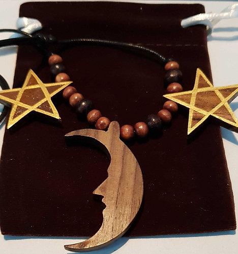 Pentagrams with Large Moon Celtic Pendant on Adjustable Cord Unisex