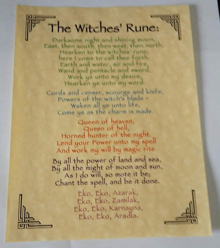 """Pagan Parchment Poster """"Witches Rune"""""""