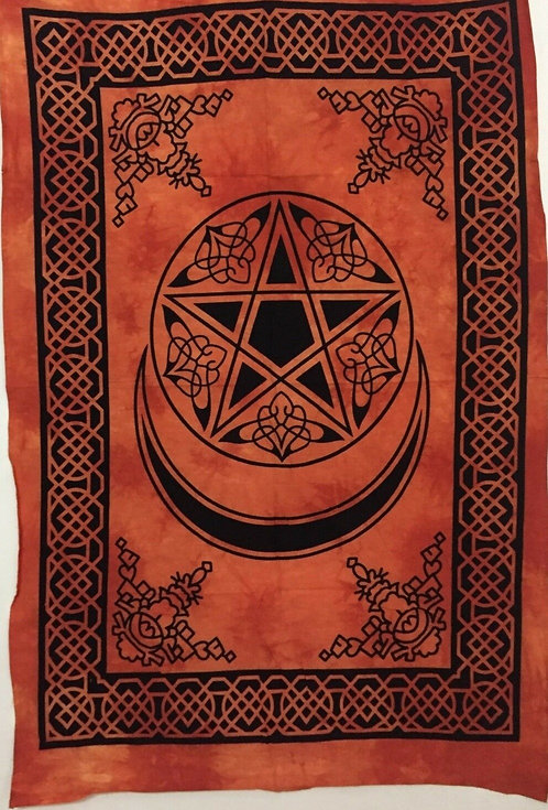 Large Altar Cloth ~ Pentagram and Crescent Moon Orange Celtic Design
