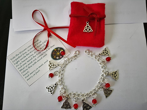 Witches Charm Bracelet ~ Garnet ~  Celtic Triquetra Trinity Protection