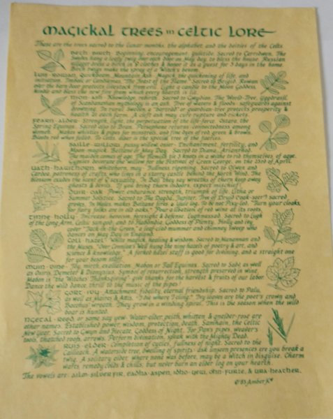"""Pagan Parchment Poster """"Magical Trees"""""""