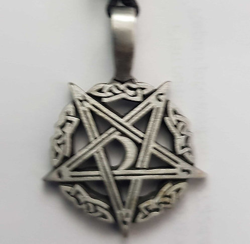 Inverted Pentagram With Moon Pendant ~ Fine Quality Pewter