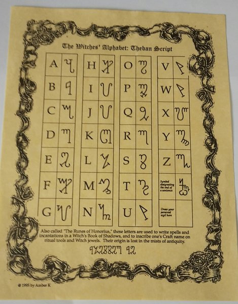 "Pagan Parchment Poster ""Witches Alphabet"" or Theban Script"