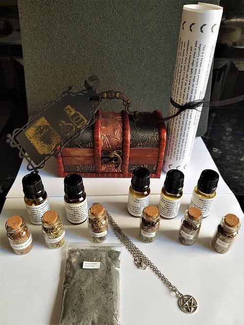 Witches Altar Chest Kit ~ Potent Altar Oils ~ Herb Potions ~ Pentagram Pendant