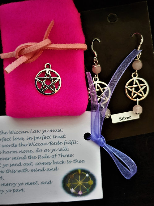"Pagan ~ ""Rose Quartz"" Pentagram Protection Crystal Silver Earr"