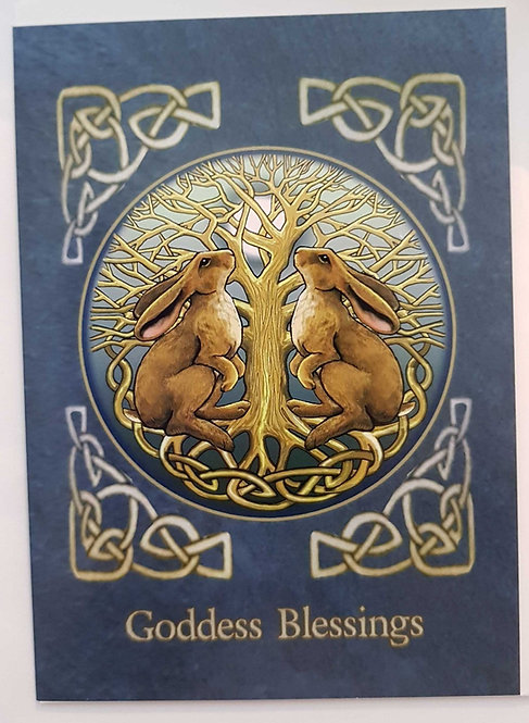 Greetings Card by Lisa Parker Moon Gazing Hare's