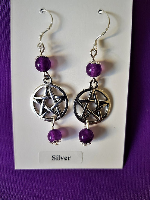 Pagan Sterling Silver Protection Pentagram & Amethyst Earrings ~ Made By Celtic