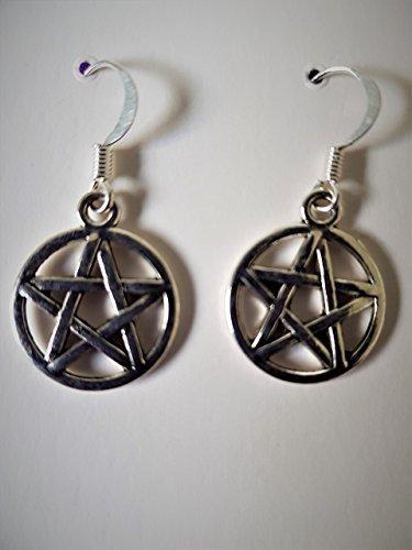 Silver Symbolic Protection Pentagram Dangle Earrings