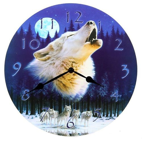 Howling Wolf Wall Clock by Lisa Parker