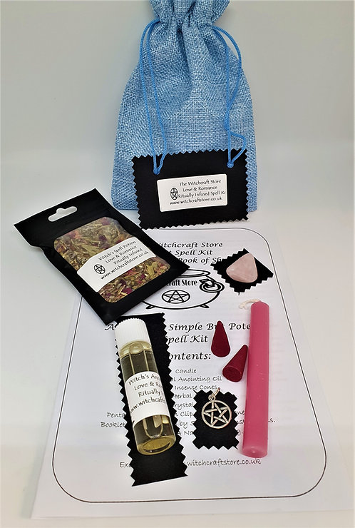 Witches Complete Spell Kit ~ Love Romance ~ Potion, Oil, Talisman, Crystal