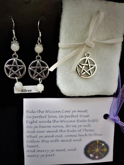"Pagan ~ ""Snow Quartz"" Pentagram Protection Crystal Silver Earrings"