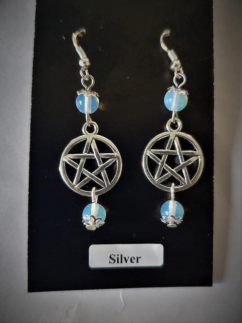 Pagan 'Moon Stone' Opalite Pentagram Protection Crystal Silver Earrings