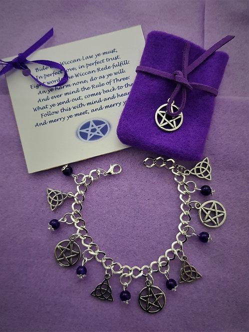 Witches Charm Bracelet ~ Amethyst ~ Triquetra ~ Pentagram Protection