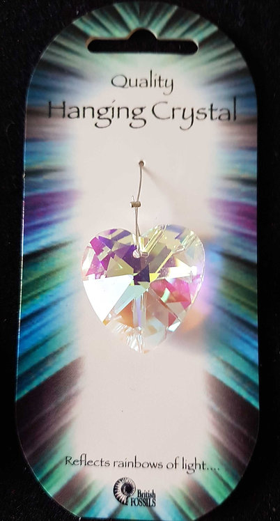 Hanging Crystal Heart ~ Reflects Rainbows ~ By British Fossils