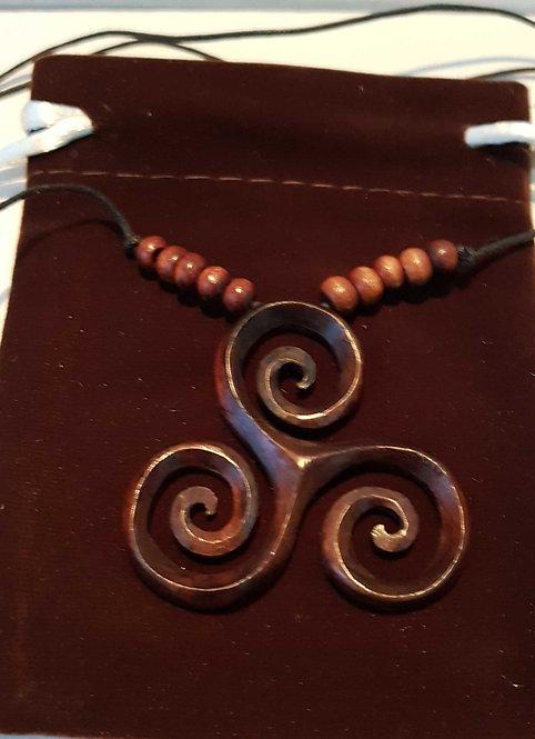 Triskele ~ Triple Spiral or Triskelion Celtic Pendant on Adjustable Cord Unisex