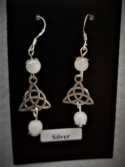 "Pagan ~ ""Snow Quartz"" Celtic TriquetraTrinity Protection Crystal Silver Earrings"