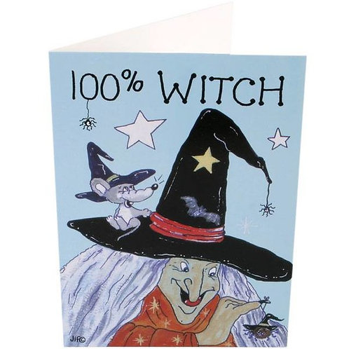 "Pagan Humour Greetings Card ""100% Witch"""