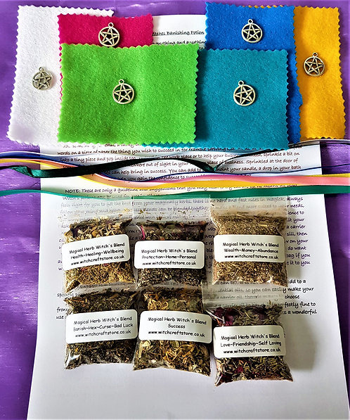 Magical Charm Bags ~ Herbs ~ Pentagrams ~ Make Your Own Altar Spells