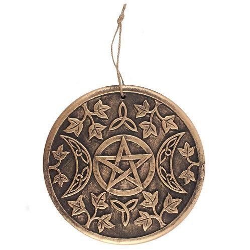 Triple Moon Goddess Pentagram Terracotta Copper Wall Hanging 20 cms