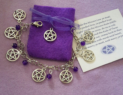 Witches Charm Bracelet ~ Amethyst ~  Pentagram Protection