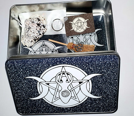 Witches Altar Essentials Tool kit Moon Goddess Tin Box