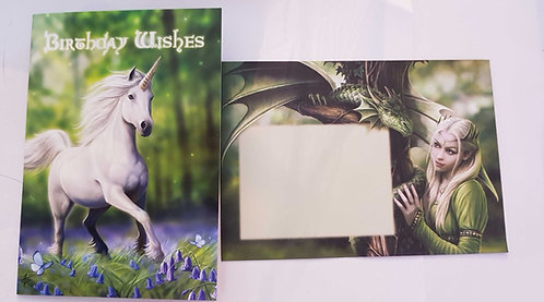 Birthday Card by Anne Stokes 'Unicorn in Enchanting Forest'