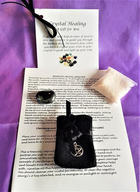 Crystal Healing Hematite Spiritual Gift Set Crystal Salt Gift Bag & Card Large