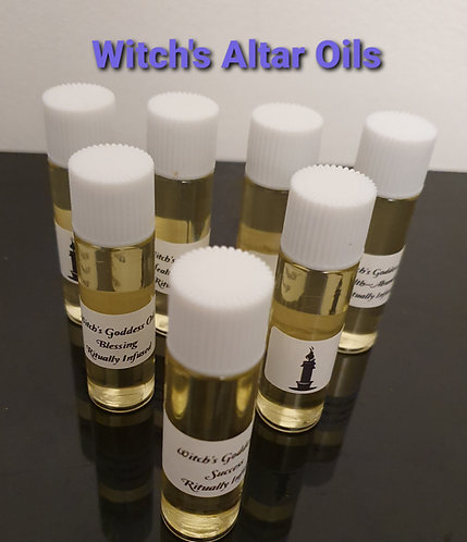 Set Of 7 Most Popular Bottles Of Witches Anointing Altar Oils Starter Kit
