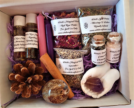 Witches Boxed Gift Set ~ Healing Hands ~ Spell Potions ~ Crystal