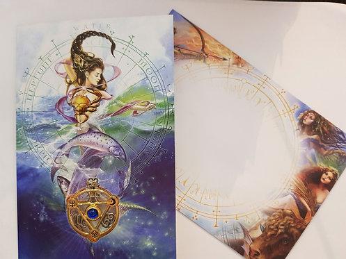 Elemental Water Greetings Card With Talisman Pendant