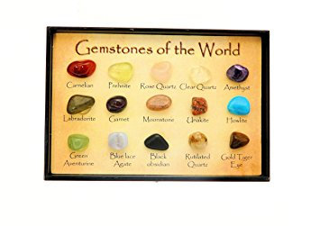 "Crystals x 15 Set In Mini Display Box -"" Gemstones Of The World"""