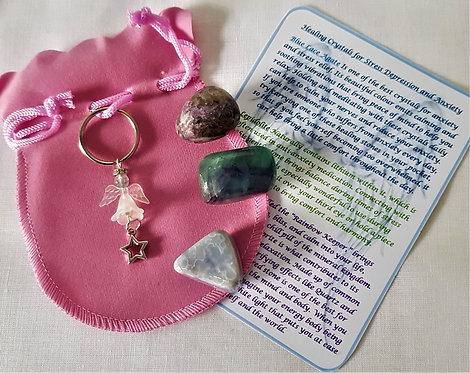 Crystal Angel Gemstones Gift Set ~ Helps With Depression, Stress, Anxiety
