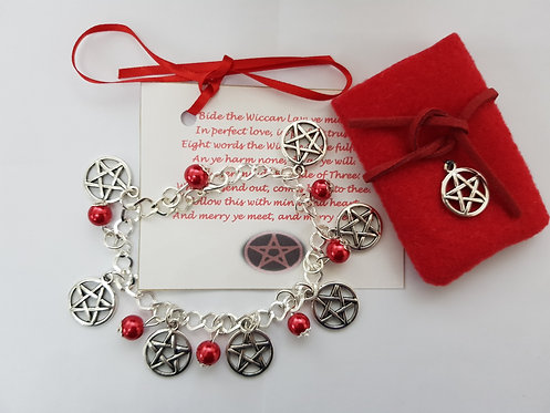 Witches Blood Charm Bracelet ~ Red ~  Pentagram Protection