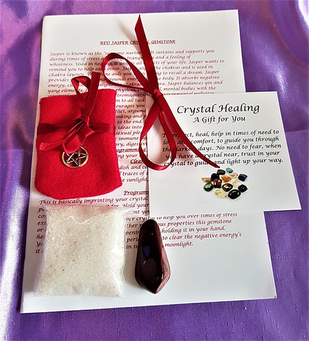 Crystal Healing RED JASPER Spiritual Gift Set Crystal Salt Gift Bag and Card