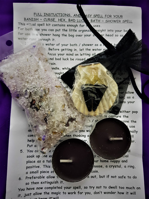 Complete Spell Kit  ~ Banish Hex ~Curse ~ Bad Luck ~ Potent Bath ~ Show