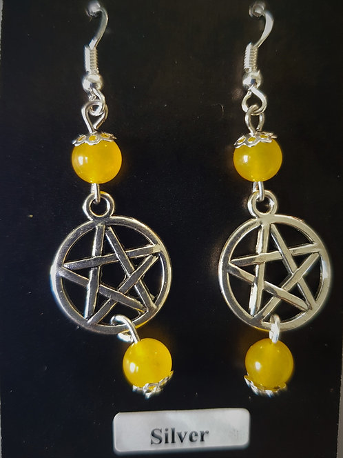 """Pagan ~ """"Yellow Topaz"""" Pentagram Protection Crystal Silver Earrings"""