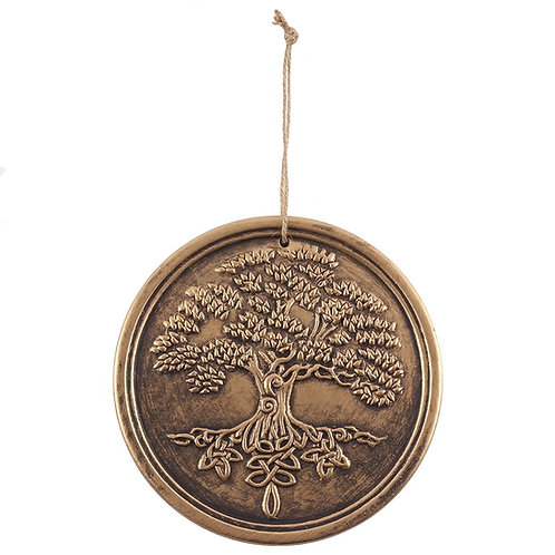Tree of Life Terracotta Bronze Wall Hanging ~ Altar Decor 20 cms