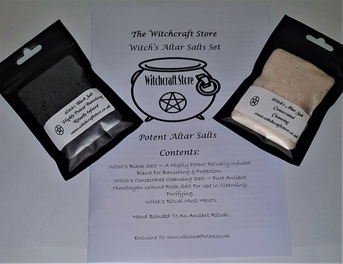 Witches Altar Salt Set ~ 50g Potent Black + 50g Consecrated Cleansing + Booklet