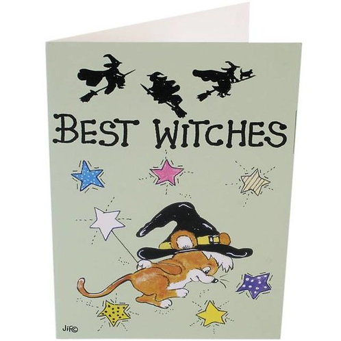 """Pagan Humour Greetings Card """"Best Witches"""""""