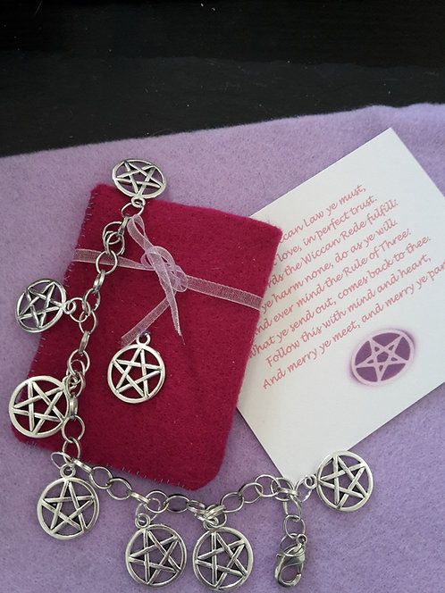 Witches Charm Bracelet ~ Pagan Pentagram Protection Gift Set