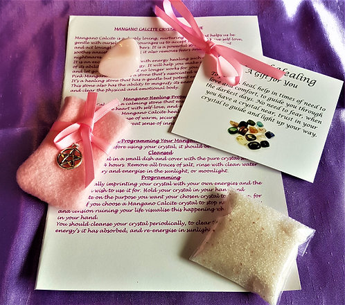 Crystal Healing MANGANO CALCITE Spiritual  Crystal Salt Gift Set Bag Card Large