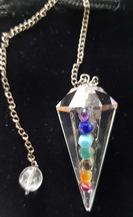 Clear Crystal Chakra Gemstones ~ Dowsing Pendulum ~ Reiki Healing