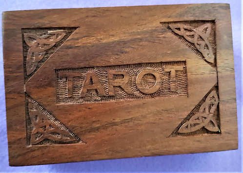 Tarot Card Box ~ Natural Hand Carved Wood ~Suitable For All Spiritual Card Decks