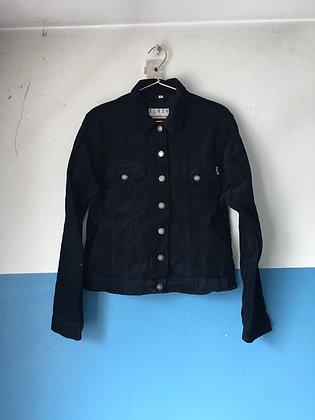 Veste noire en velours côtelé