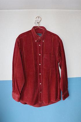 Chemise rouge velours côtelé