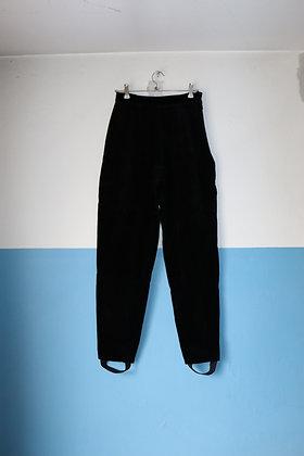 Pantalon noir taille haute en velours