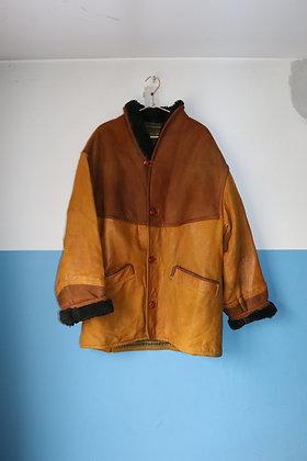 Veste en cuir couleur ocre