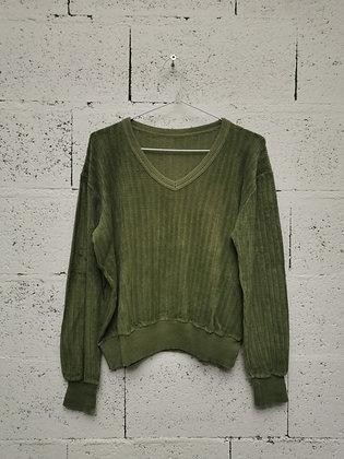 Pull velours vert